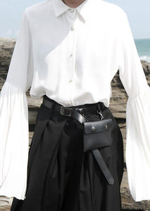 Chic white chiffon clothes For Women pleated sleeve loose lapel collar blouse