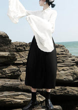 Load image into Gallery viewer, Chic white chiffon clothes For Women pleated sleeve loose lapel collar blouse