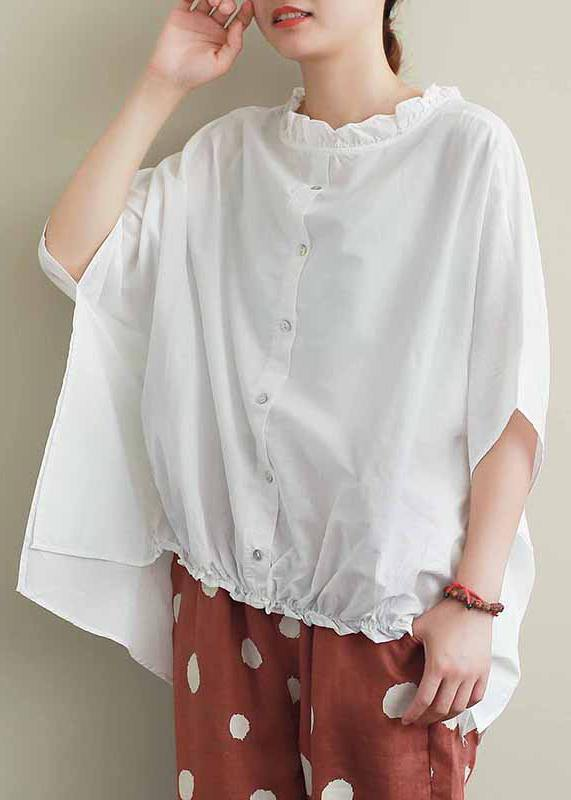 Chic white cotton top silhouette Ruffled Knee summer top