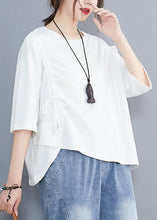 Load image into Gallery viewer, Chic white o neck cotton tunic top off the shoulder daily summer shirt