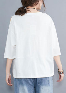 Chic white o neck cotton tunic top off the shoulder daily summer shirt