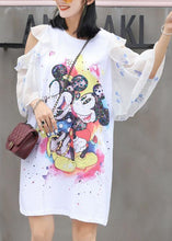 Load image into Gallery viewer, Chic white prints Cotton quilting clothes flare sleeve Knee summer Dress