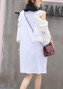 Chic white prints Cotton quilting clothes flare sleeve Knee summer Dress