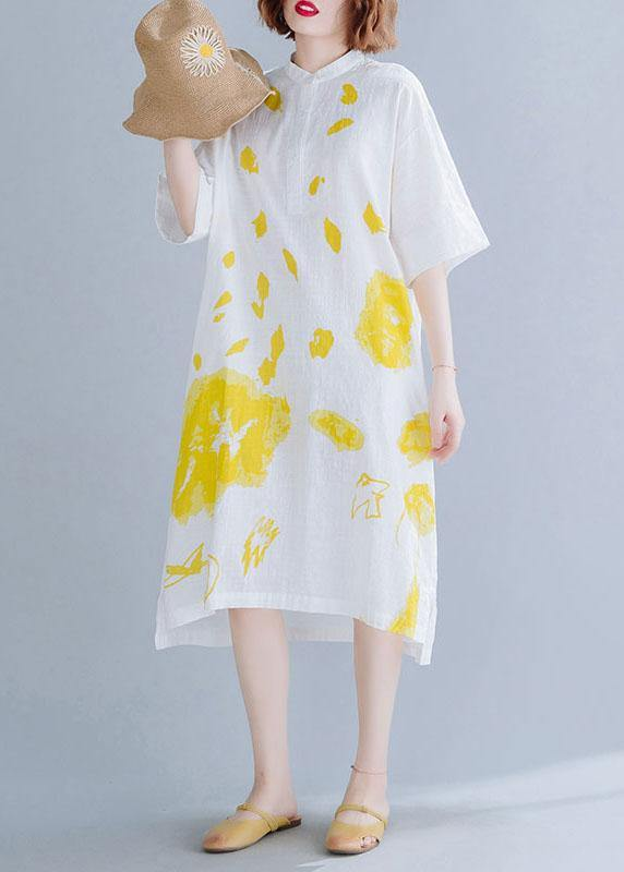 Chic white prints linen dresses stand collar Maxi summer Dress