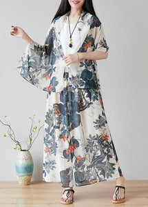 Chinese style nude color printing retro loose large size casual chiffon skirt pants wide leg pants skirt + shawl