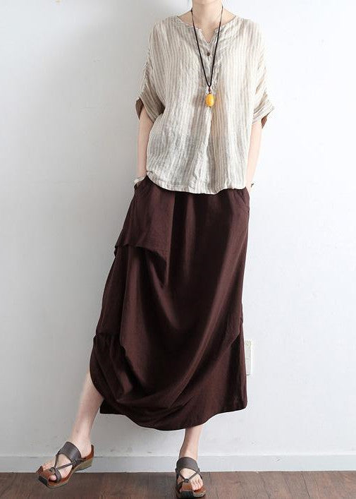 Chocolate side drawstring linen skirts asymmetrical oversized cotton skirt outfit