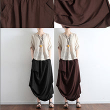 Load image into Gallery viewer, Chocolate side drawstring linen skirts asymmetrical oversized cotton skirt outfit