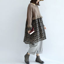 Load image into Gallery viewer, Chocolate vintage floral patchwork sweater dresses knit pullover shift dress