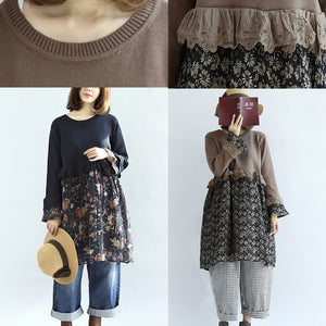 Chocolate vintage floral patchwork sweater dresses knit pullover shift dress