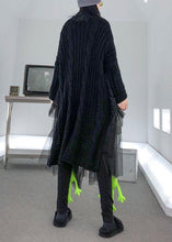 Load image into Gallery viewer, Christmas high neck patchwork tulle Sweater spring Beautiful black baggy knit dresses