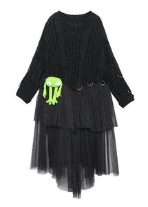 Christmas high neck patchwork tulle Sweater spring Beautiful black baggy knit dresses