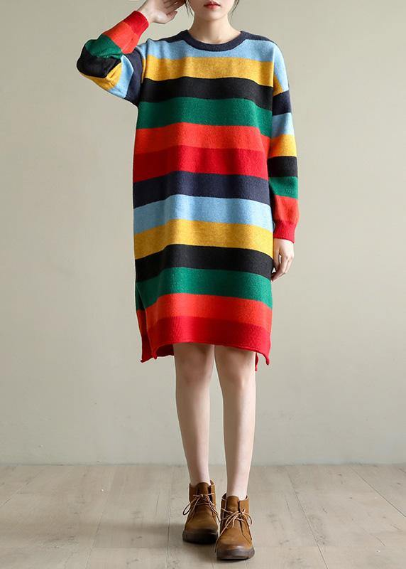 Christmas rainbow striped Sweater knit top pattern Moda side open oversized spring knitted tops