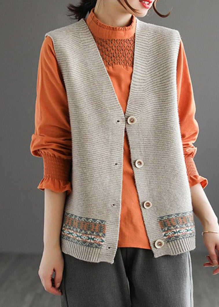 Chunky Khaki Knit Cardigans Fashion Spring V Neck Sleeveless Knitted Coat