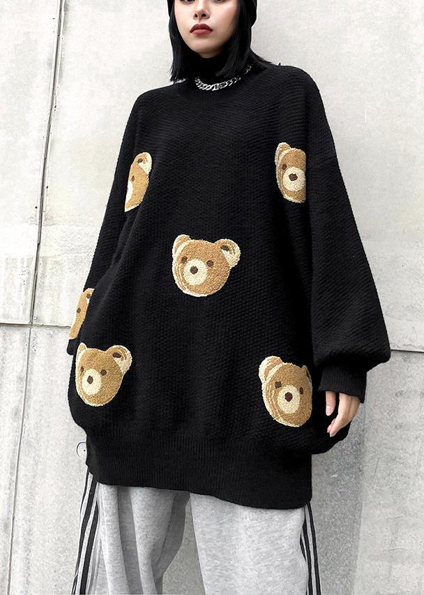 Chunky black Bear design knit tops o neck silhouette knit top