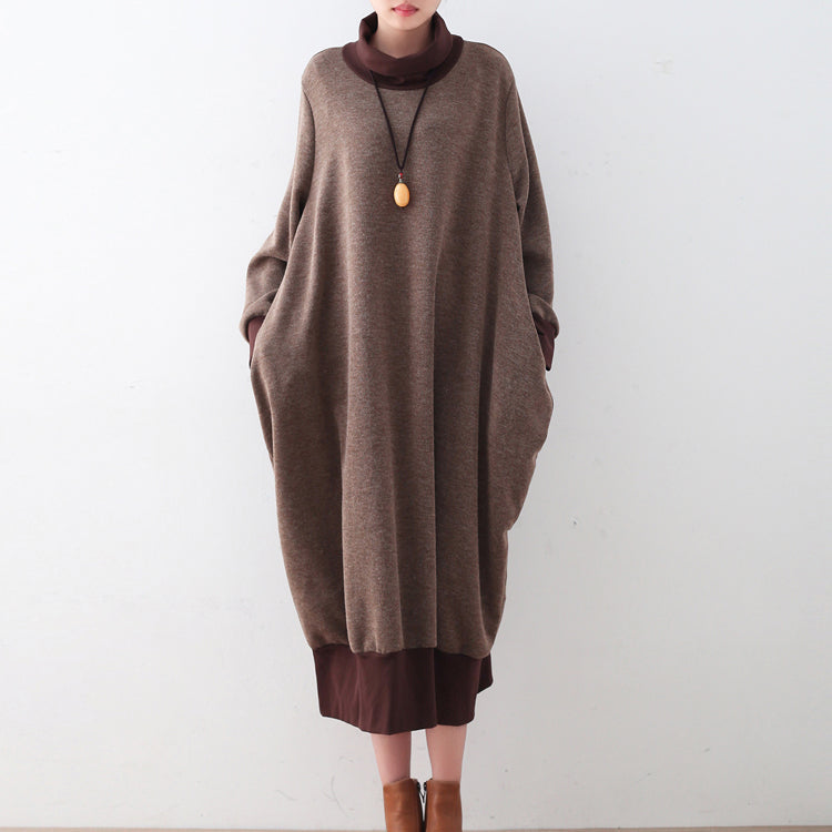Chunky brown sweater dresses Loose fitting pullover boutique high neck winter dress patchwork