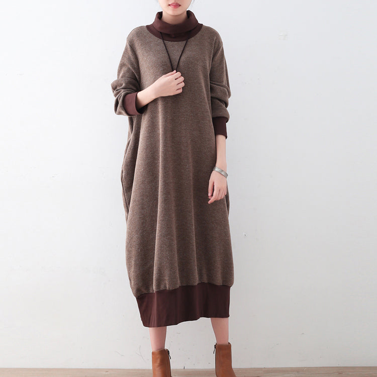 Chunky Brown Sweater Dresses Loose Fitting Pullover