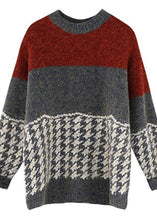 Load image into Gallery viewer, Chunky burgundy knitted t shirt o neck baggy spring knitted blouse