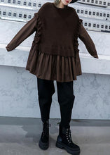 Load image into Gallery viewer, Chunky chocolate knit sweat tops fall fashion o neck false two pieces tops