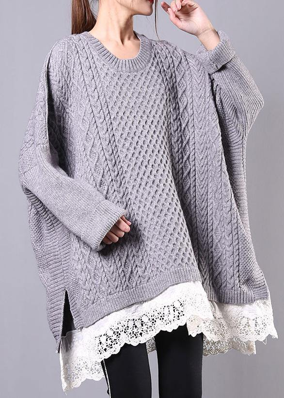 Chunky gray sweaters plus size clothing o neck Batwing Sleeve knit tops
