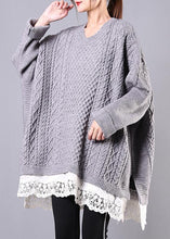 Load image into Gallery viewer, Chunky gray sweaters plus size clothing o neck Batwing Sleeve knit tops