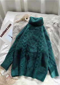 Chunky green knit blouse high neck thick oversize fall knit sweat tops