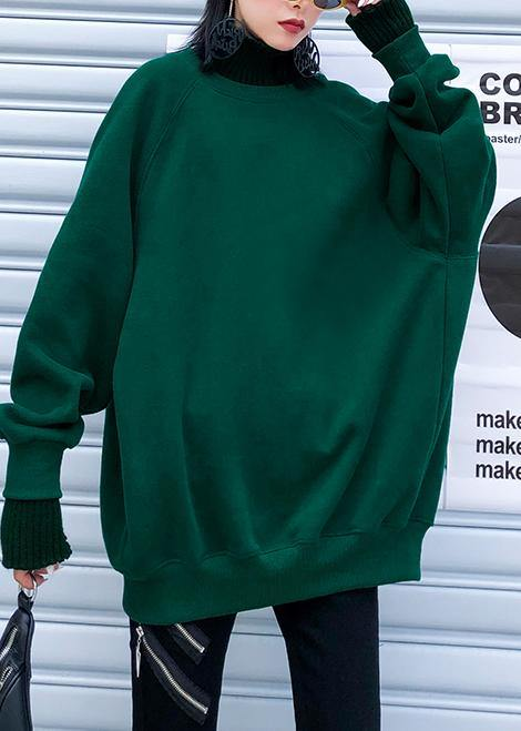 Chunky green knitted pullover fall fashion winter sweaters o neck