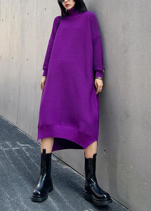 Chunky high neck low high design Sweater fall weather Upcycle purple oversized knitted dress