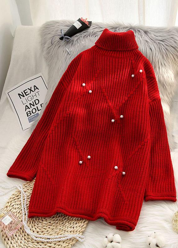 Chunky high neck red sweaters casual Rivet knit top silhouette