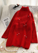 Load image into Gallery viewer, Chunky high neck red sweaters casual Rivet knit top silhouette