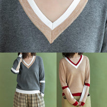 Load image into Gallery viewer, Chunky khaki knit blouse casual v neck sweaters side open