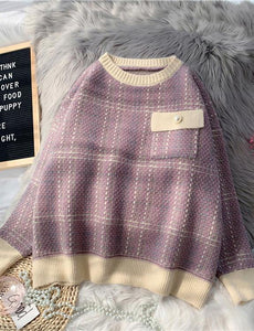 Chunky light purple plaid knitted blouse plus size o neck patchwork top