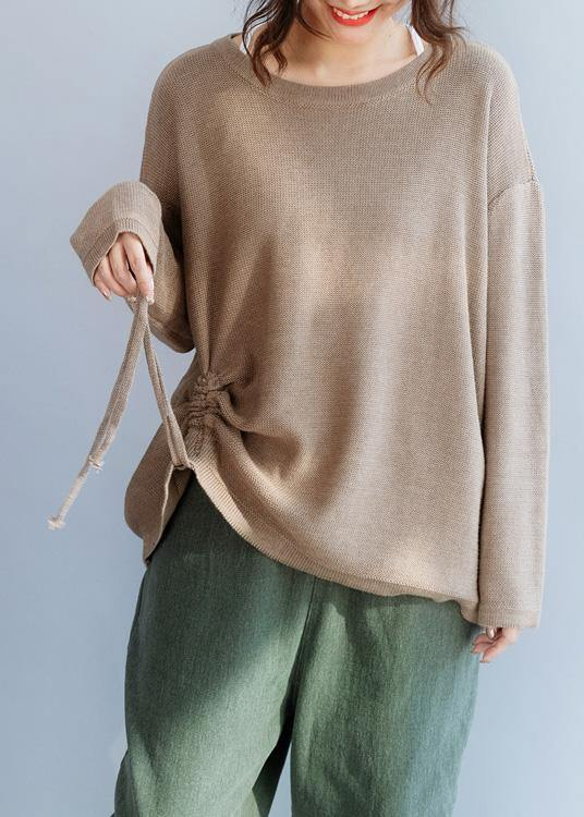 Chunky o neck khaki knit sweat tops fall fashion drawstring knit