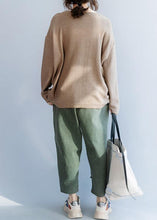 Load image into Gallery viewer, Chunky o neck khaki knit sweat tops fall fashion drawstring knit