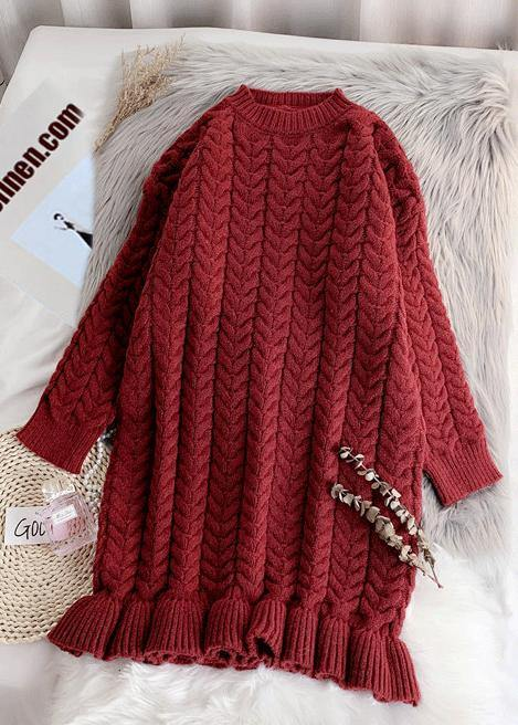 Chunky o neck thick Sweater fall Wardrobes Classy red Largo knitted dress