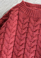 Load image into Gallery viewer, Chunky o neck thick Sweater fall Wardrobes Classy red Largo knitted dress