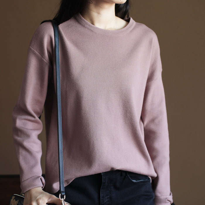 Chunky pink winter sweater Loose fitting knitted blouses vintage o neck top rabbit fur