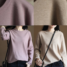 Load image into Gallery viewer, Chunky pink winter sweater Loose fitting knitted blouses vintage o neck top rabbit fur