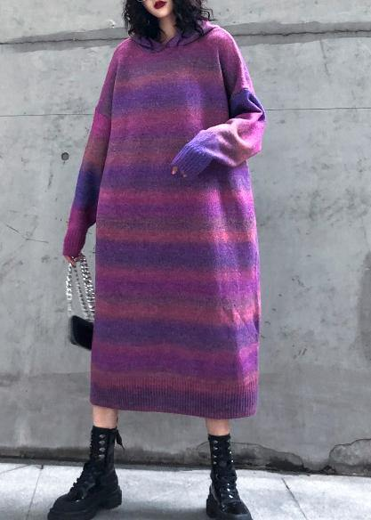 Chunky rose purple Sweater Wardrobes Moda hooded thick Art knitwear