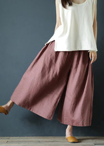 Chunxin original design cotton and linen wide-leg pants