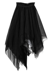 Classy Black Colorblock tulle asymmetrical design  Skirt Summer