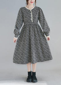 Classy Black Print Clothes Women O Neck Robe Spring Dresses