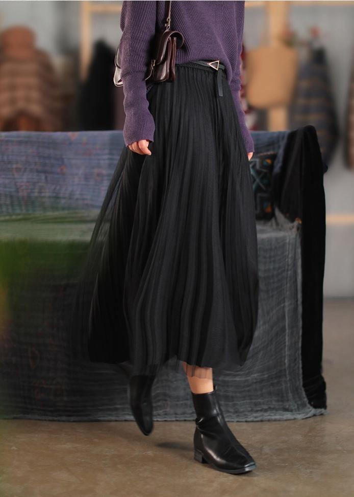 Classy Elastic Waist Cinched Spring Dresses Black Long Skirt