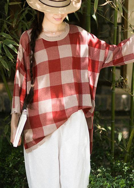 Classy Half Sleeve Spring Clothes Fashion Ideas Red Plaid Blouse