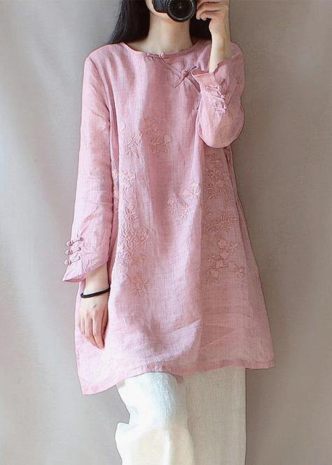 Classy O Neck Chinese Button Clothes For Women Shape Pink Embroidery Shirt