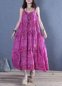 Classy Spaghetti Strap cotton Wardrobes pattern rose print long Dress
