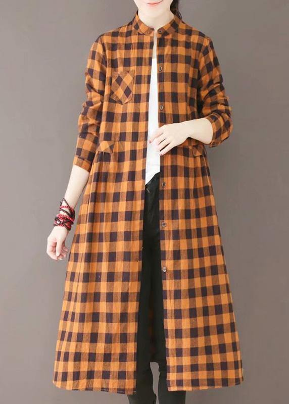 Classy Stand Collar Pockets Spring Dresses Yellow Plaid Art Dress