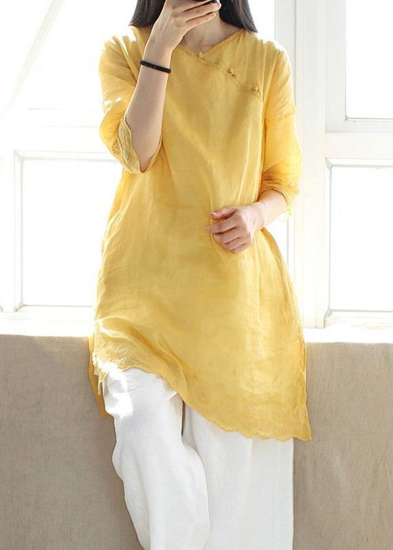 Classy V Neck Half Sleeve Blouses For Women Design Yellow Embroidery Top