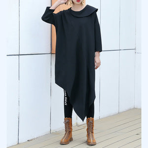 Classy black Cotton clothes For Women Korea Runway o neck asymmetric Art Dress