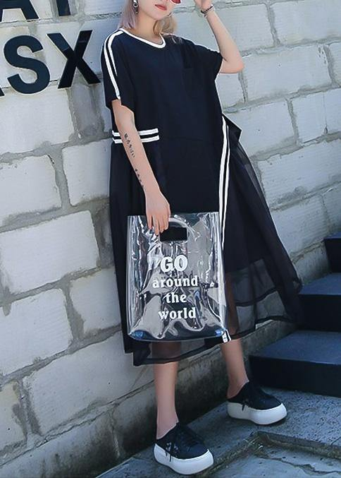 Classy black Cotton clothes o neck Vestidos De Lino summer Dresses