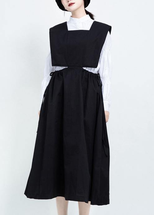 Classy black cotton clothes For Women drawstring Dresses sleeveless Dresses